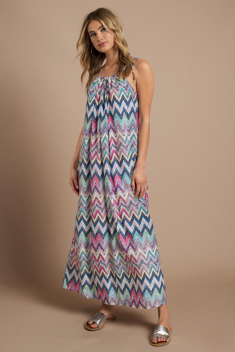 Exploring Zig Zags Blue Multi A Line Maxi Dress