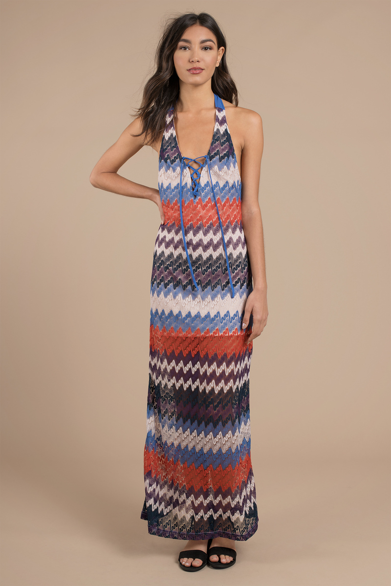Happy Daze Blue Multi Chevron Print Maxi Dress