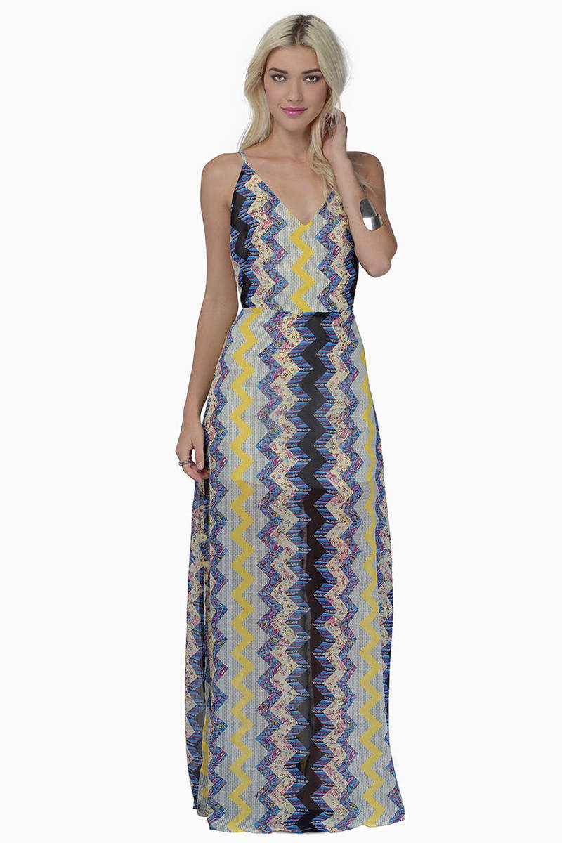 Impress Me Blue Multi Chevron Print V Neck Maxi Dress