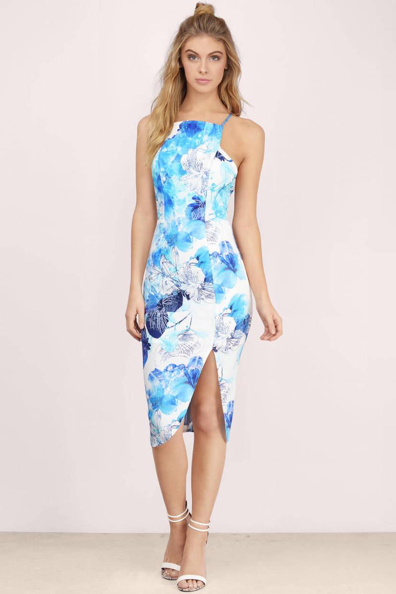 3101008a489 Blue Midi Dress - Tropical Dress - Blue Tank Dress - 298 kr   Tobi SE
