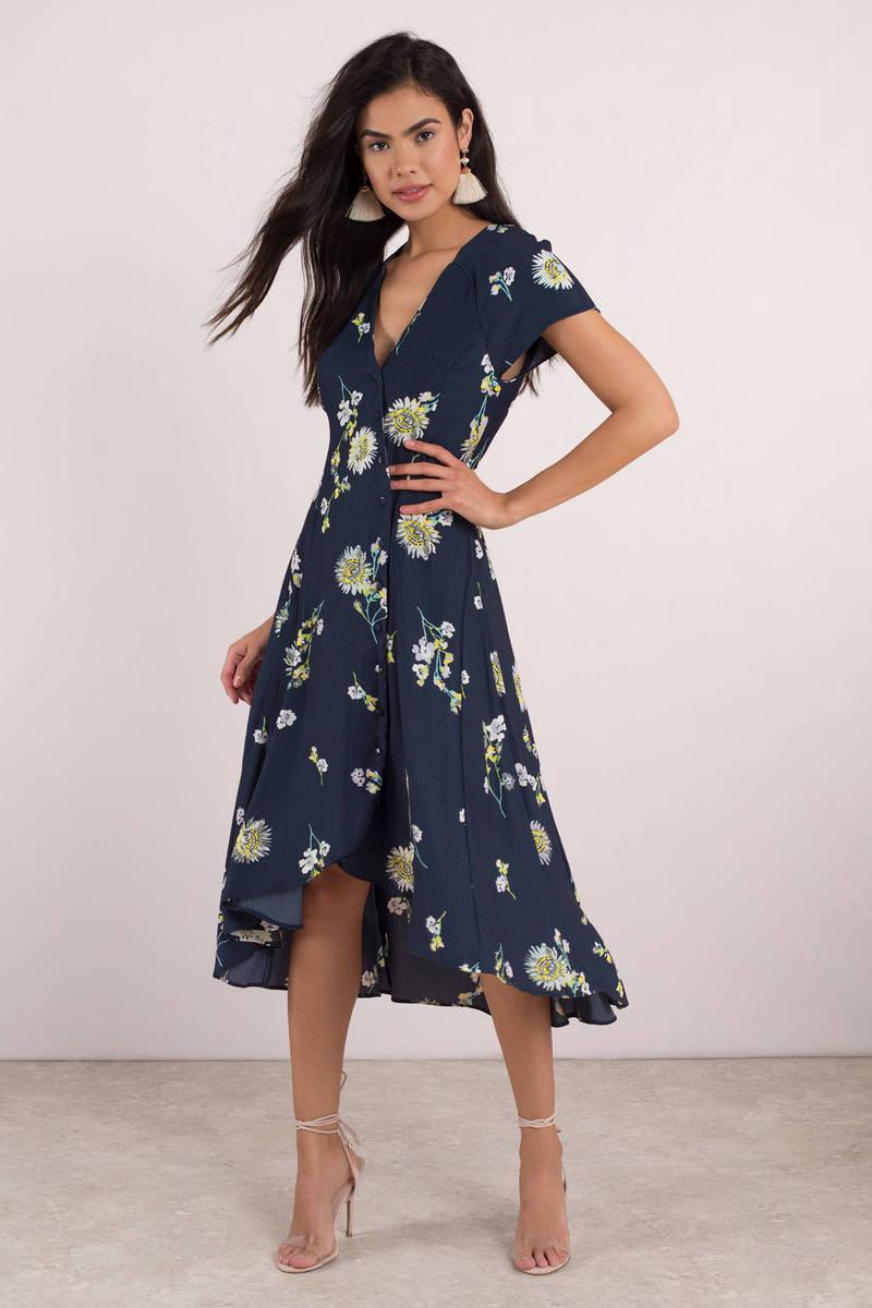 f92fa3075283 Blue Midi Dress - Free People Wrap Dress - Sunflower Dress - Yellow ...