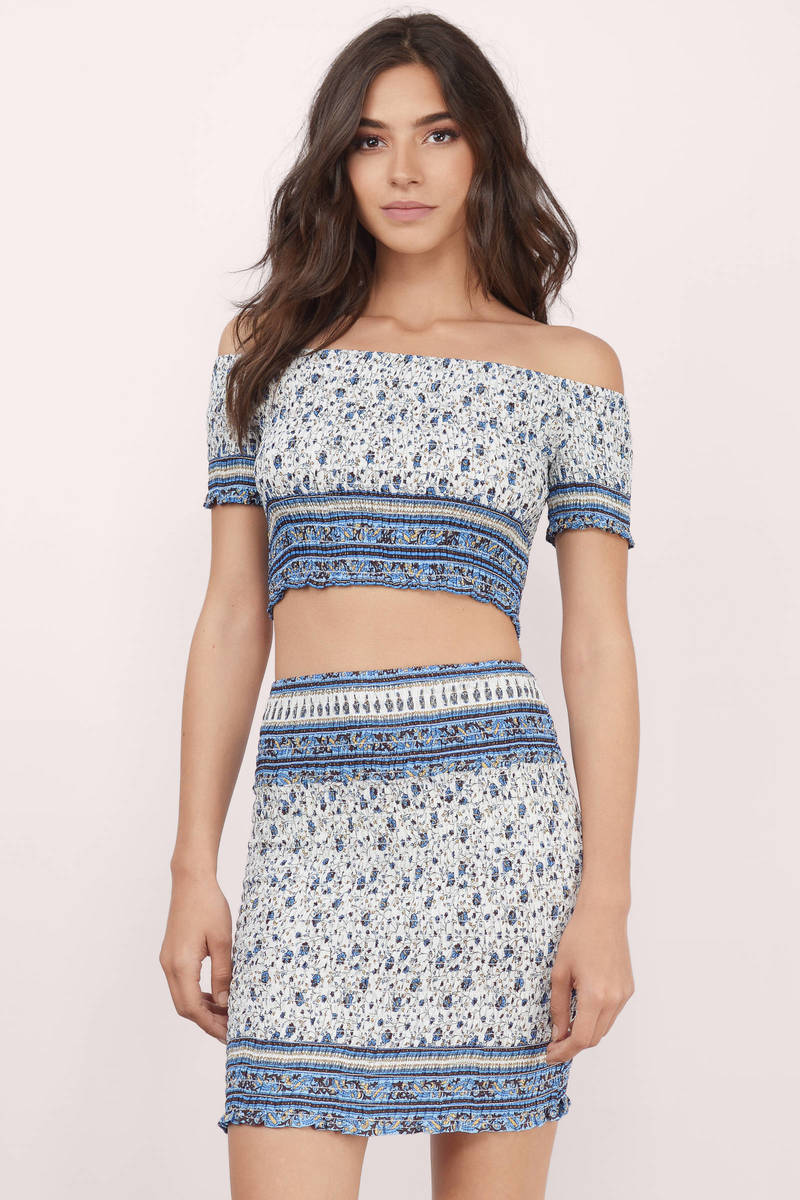 Perfect Touch Blue Multi Paisley Bodycon Dress
