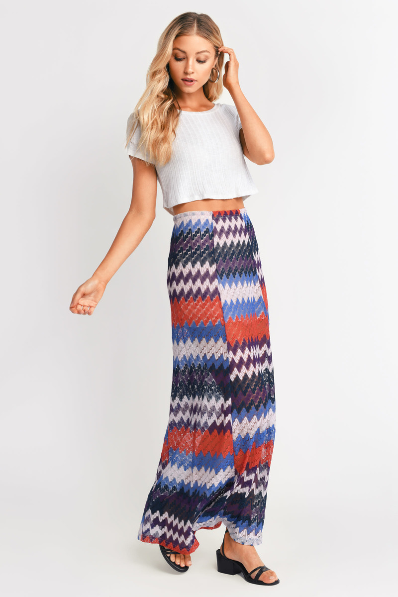Simply Harmonious Blue Multi  Maxi Skirt