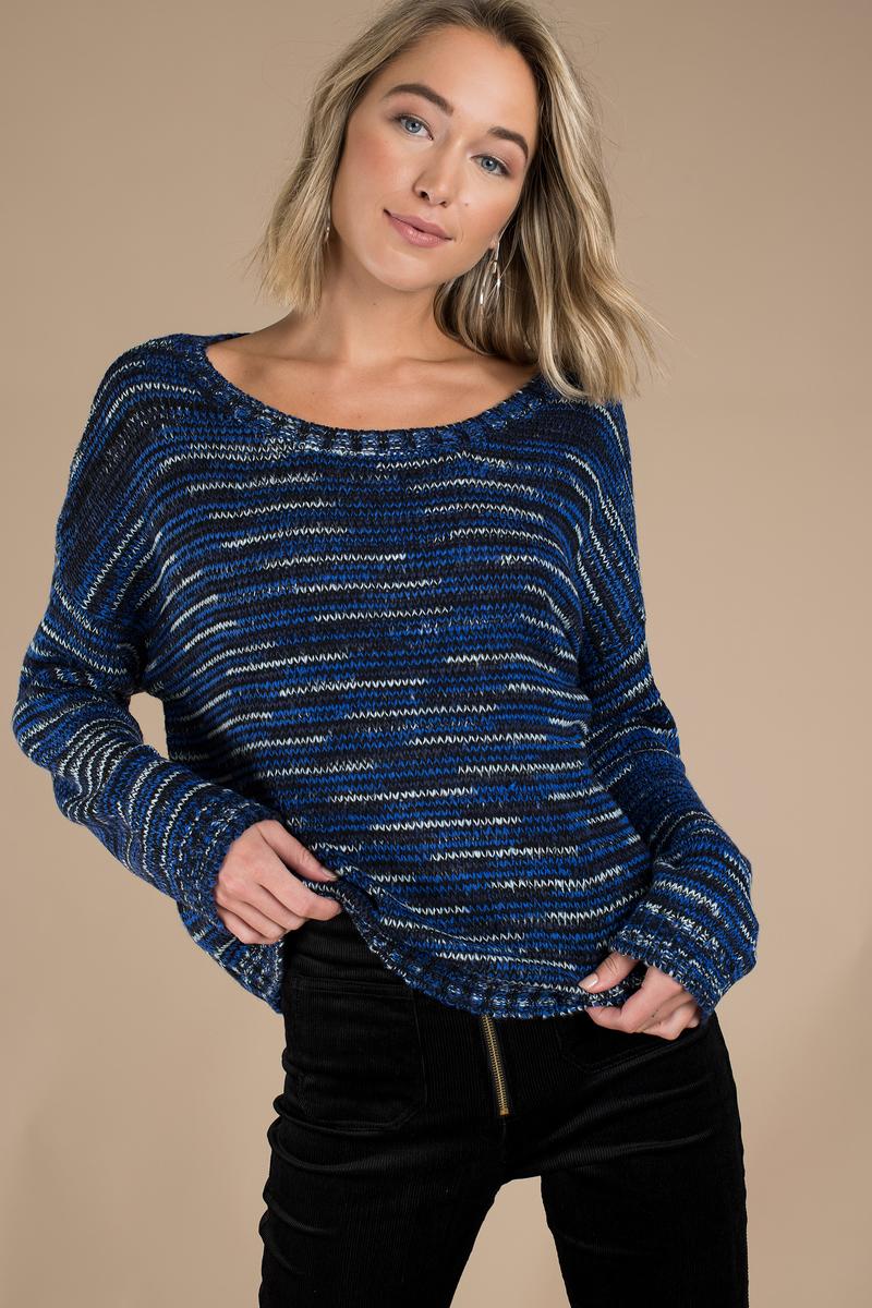 Blue Multi Sweater - Blue Sweater - Oversized Sweater ...