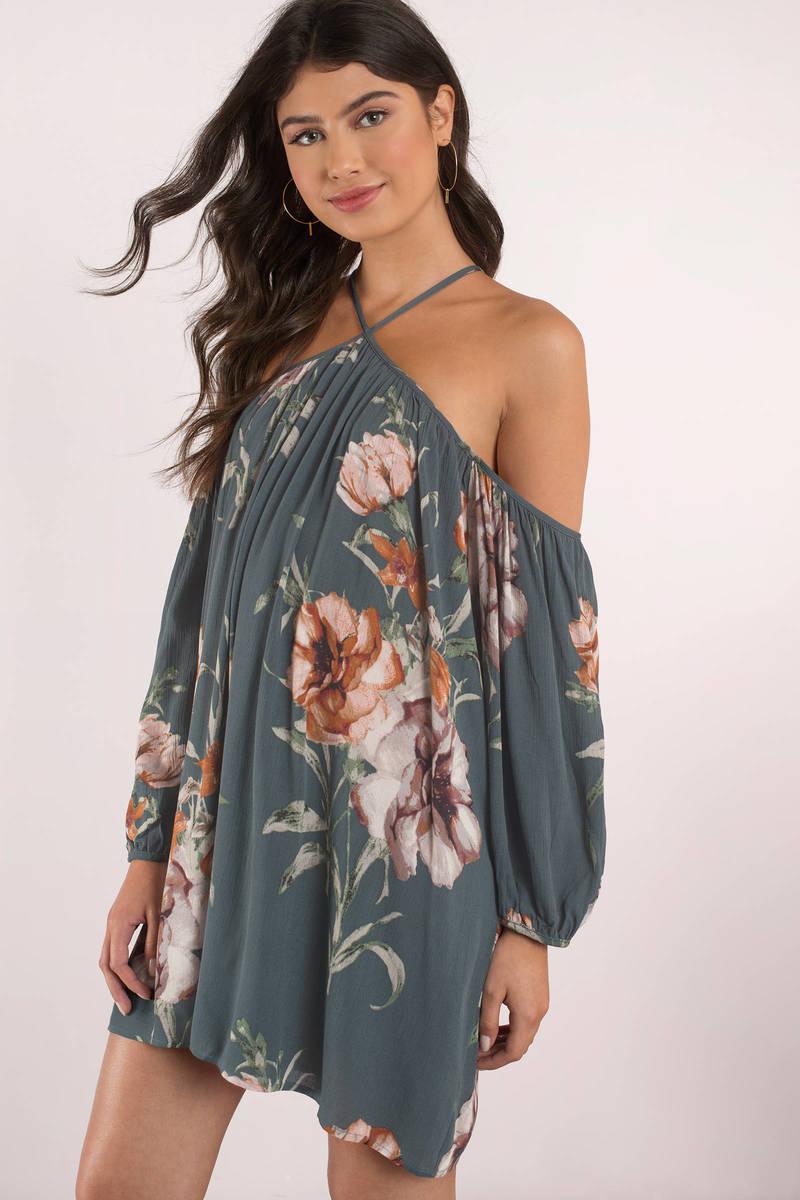 1fca929c095 Cute Blue Dress - Floral Print Dress - Cold Shoulder Dress -  62 ...