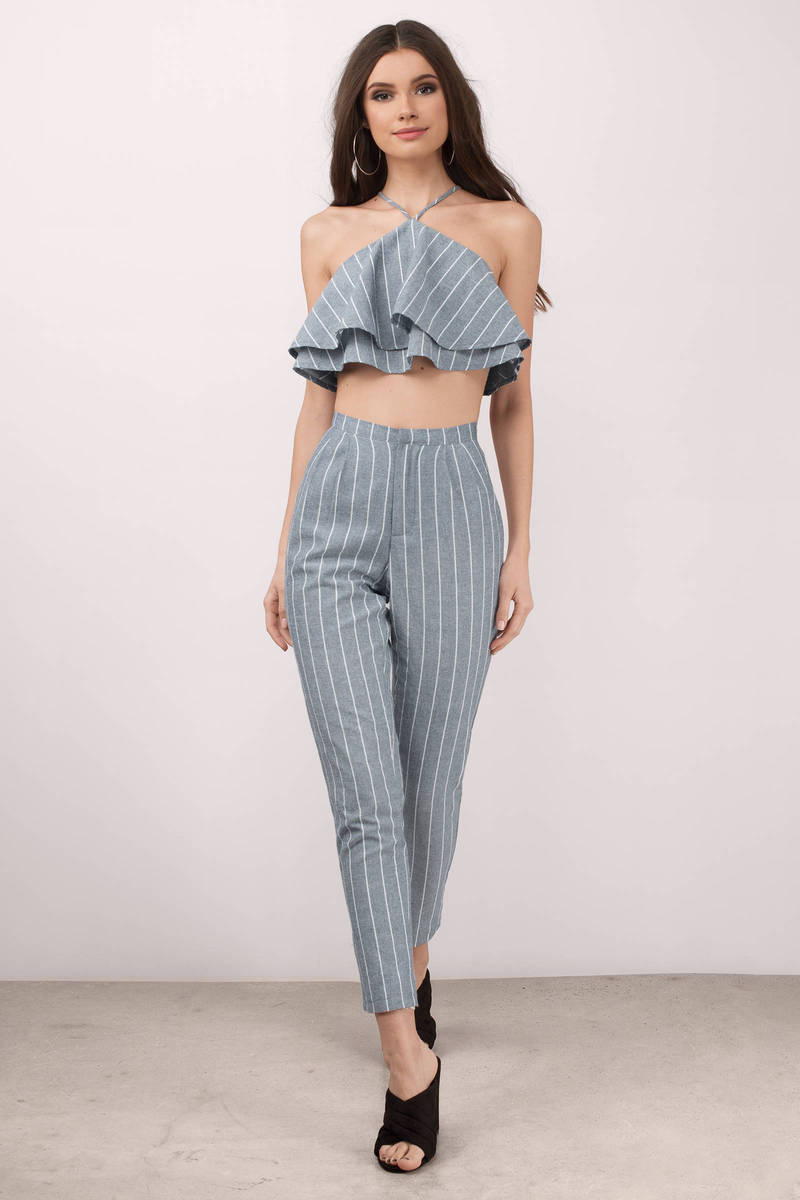 On Trend Ivory Striped Jumpsuit Set