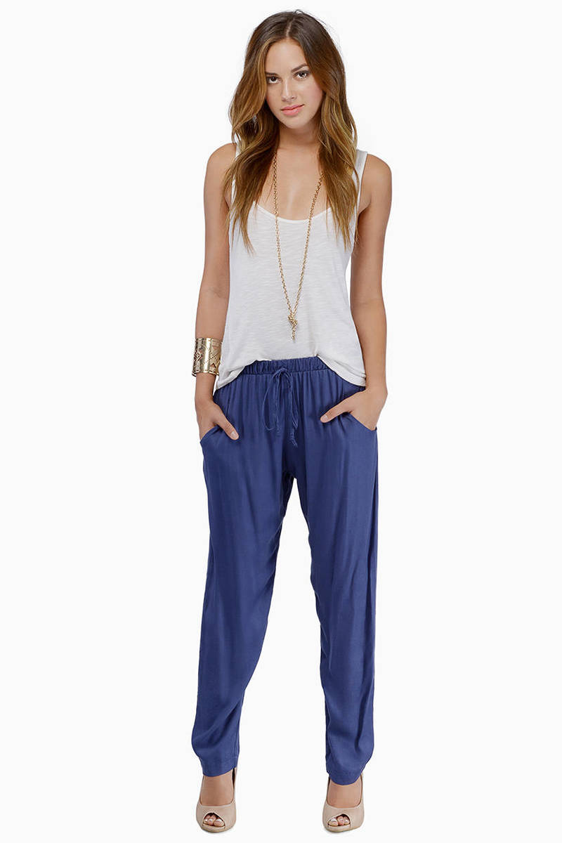 Relax In Style Blue Elastic Waist Drawstring Pants