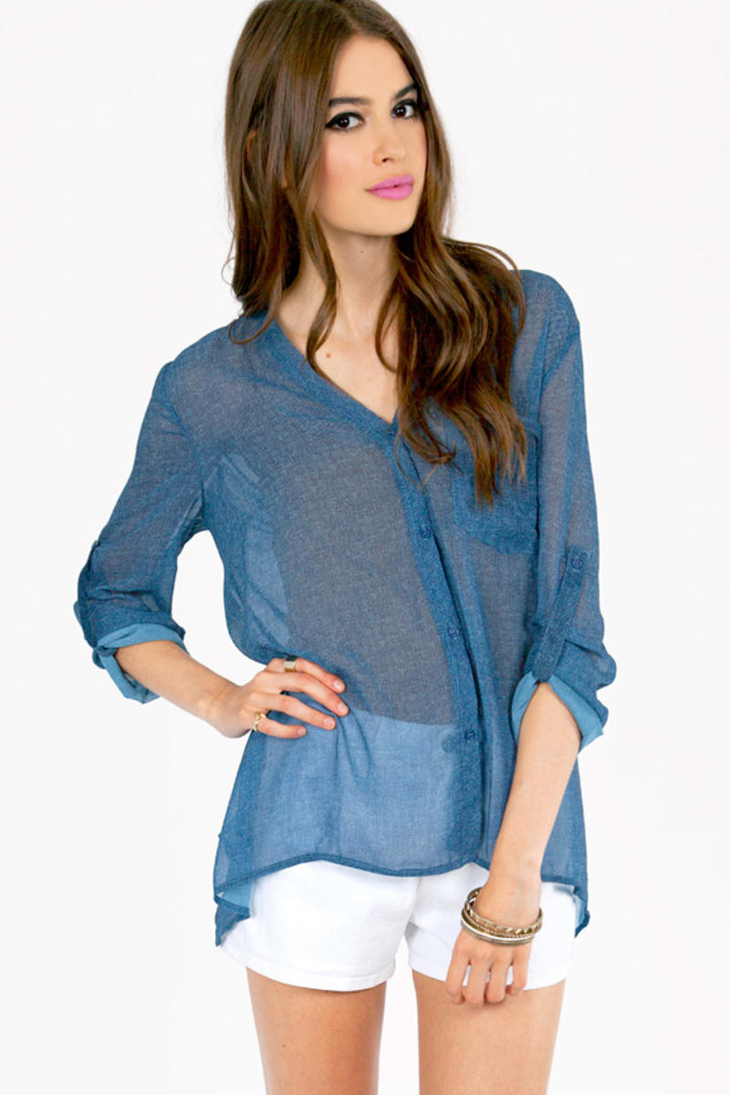 Resembling Denim Blouse