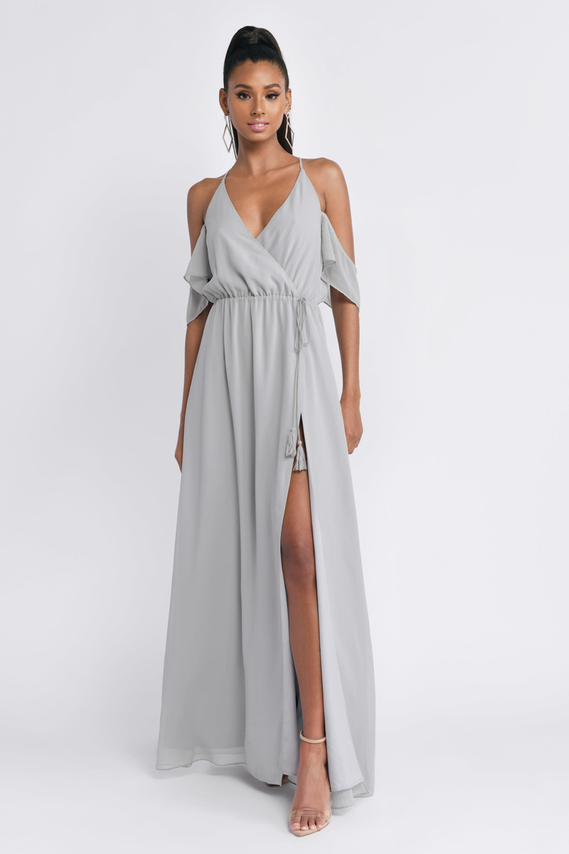 one shoulder maxi dress with slit
