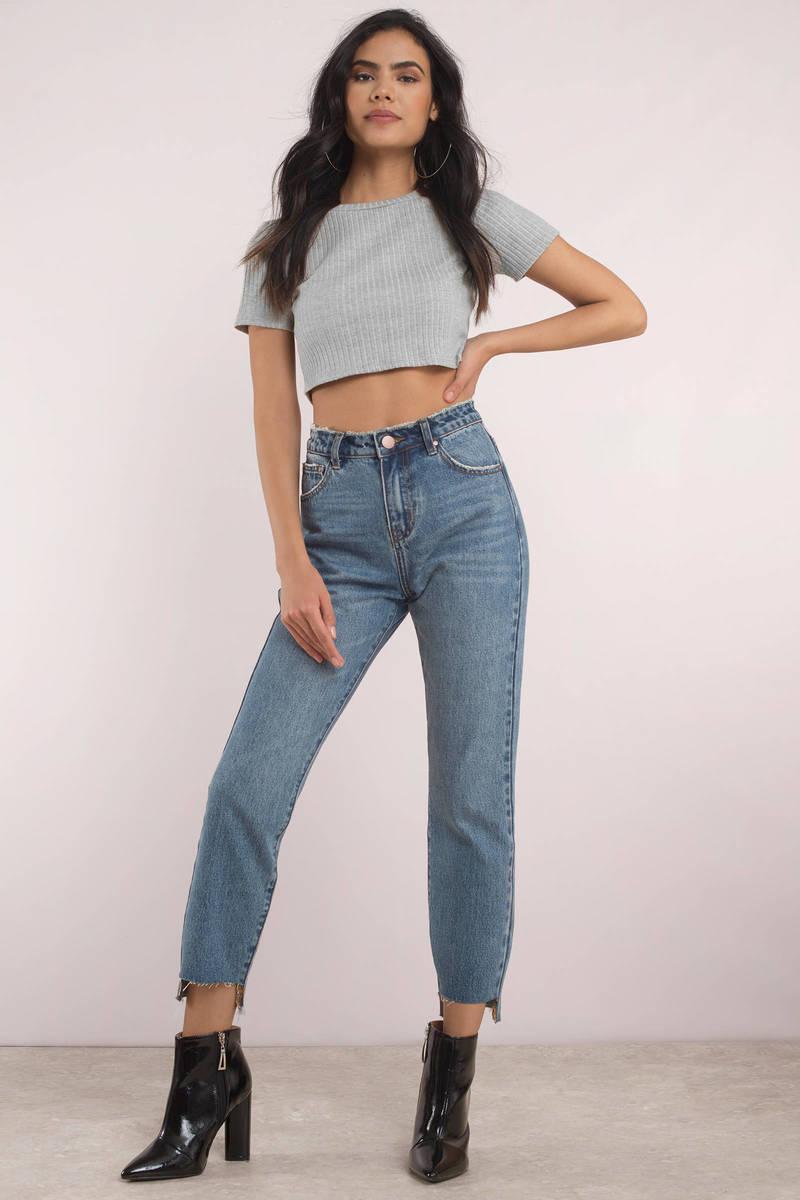 0edfbb8993ebab Blue Jeans - High Rise Jeans - Cropped Blue Jeans - High Rise -  20 ...