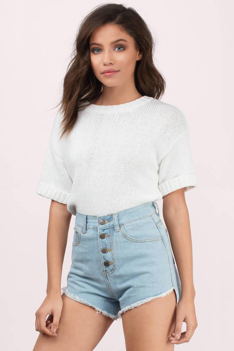Blue Denim Shorts - High Waisted Shorts - Blue Shorts ...