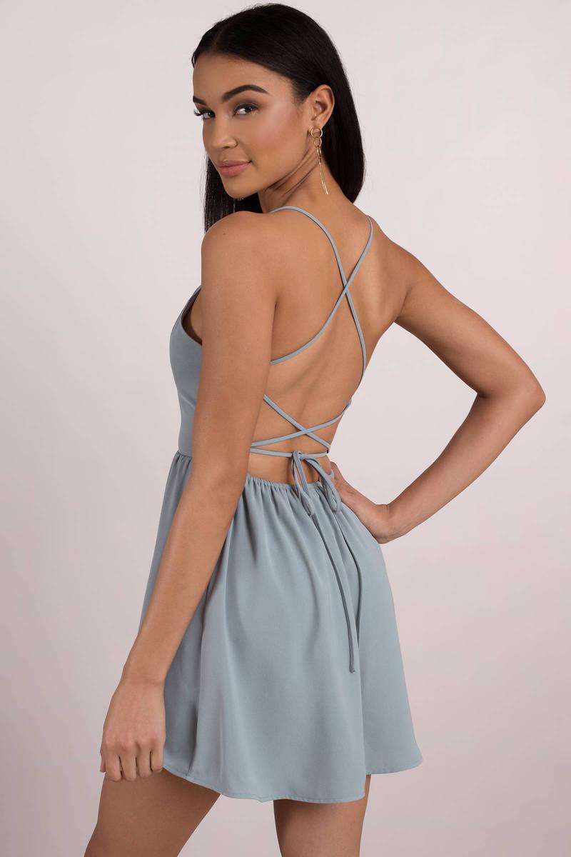 135c7b4d2a Blue Skater Dress - Strappy Back Dress - Powder Blue Dress -  39 ...