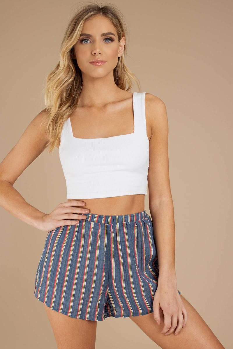 dd93f0bc7d6 Blue Shorts - Lounge Shorts - Blue Striped Shorts - Mini Shorts ...