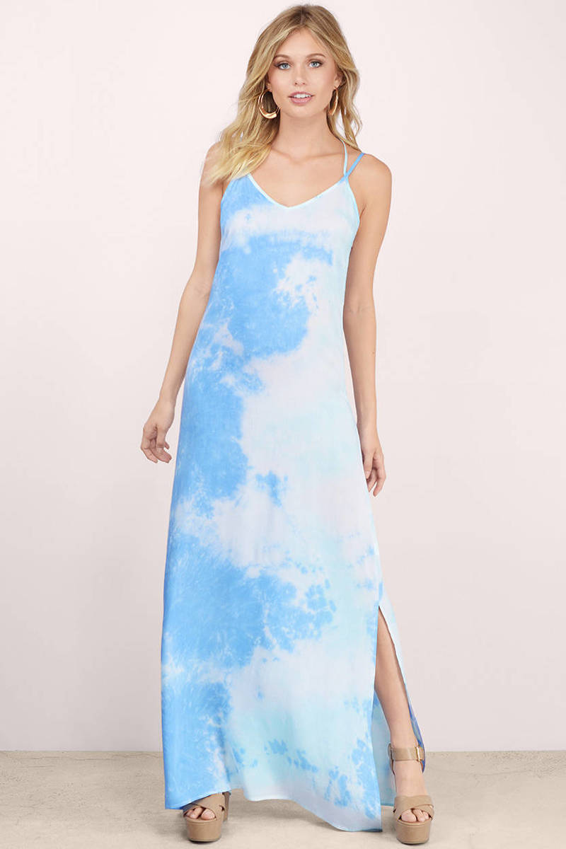 Skies Blue Tie Dye Maxi Dress