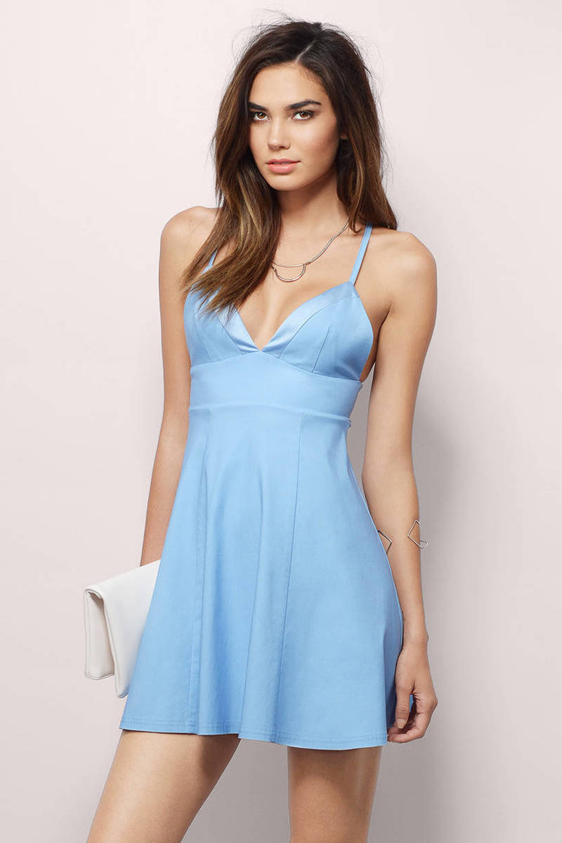 Cheap Blue Skater Dress Blue Dress Cami Dress Skater Dress