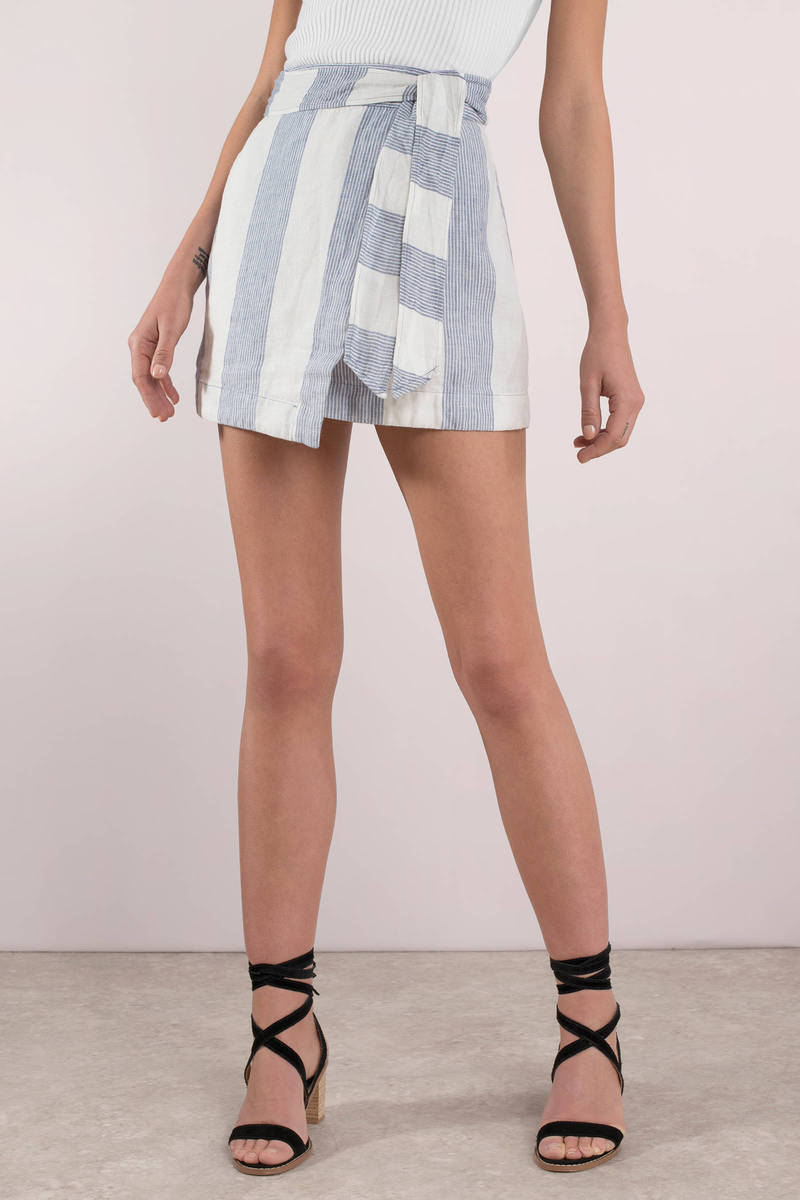 47dc575d4e62 Blue Free People Skirt - Striped Skirt - Blue Side Tie Skirt -  46 ...