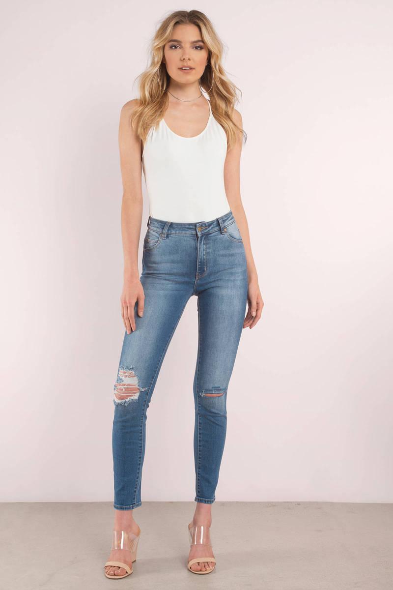 ROLLA'S Rolla's Westcoast Blue Staple Distressed Denim Jeans