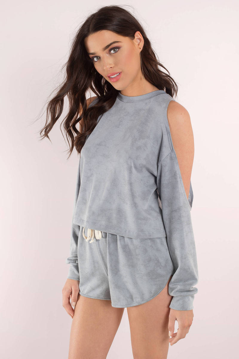 What I Like About You Blue Cold Shoulder Top