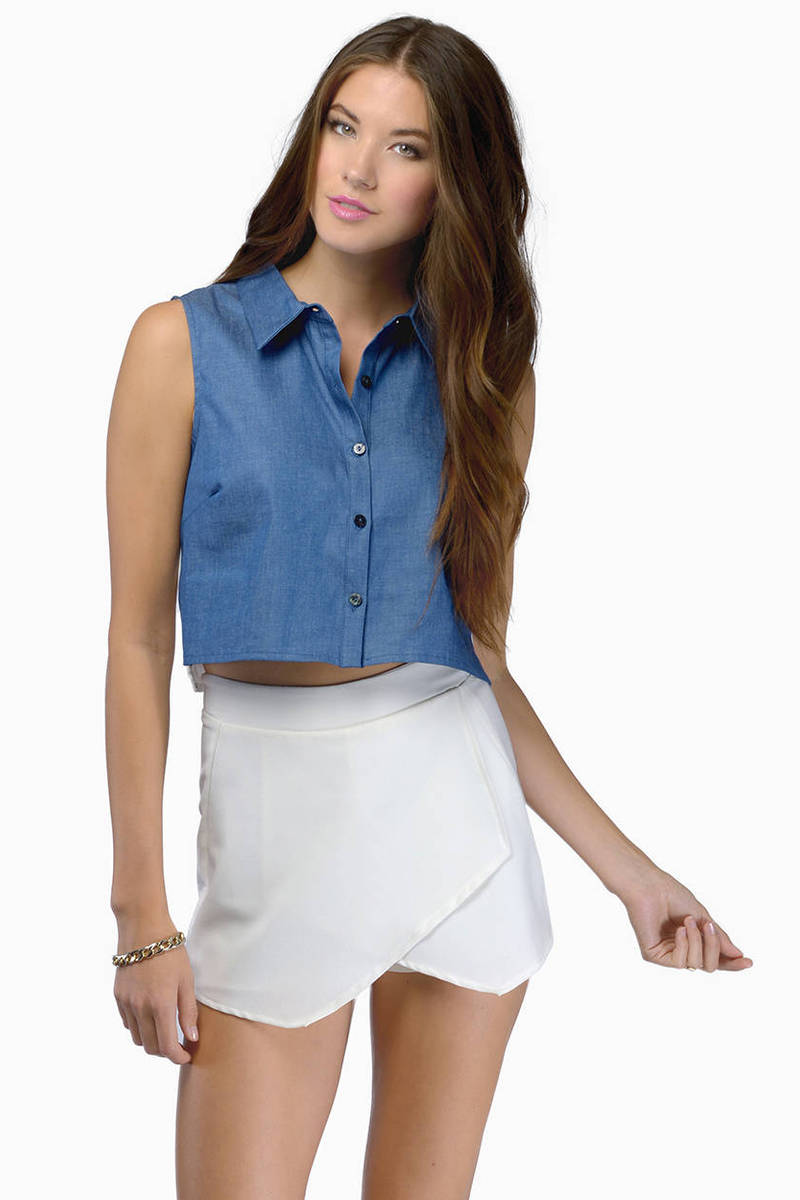 Casual Business Blue & White Crop Top