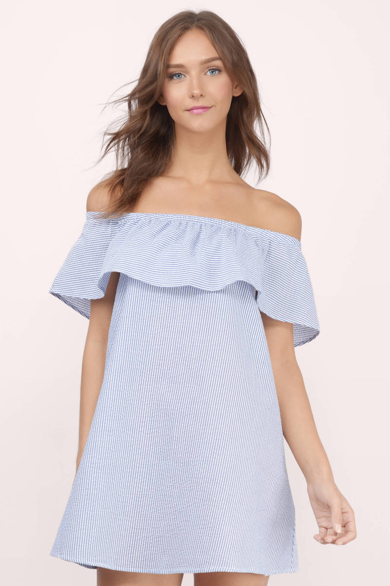 Blue and white day dress.