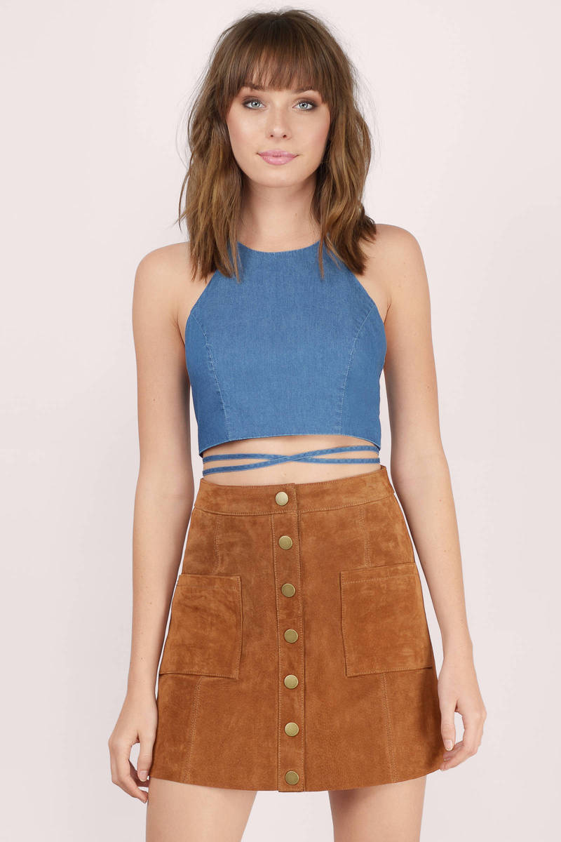 Winona Blue Denim Crop Top