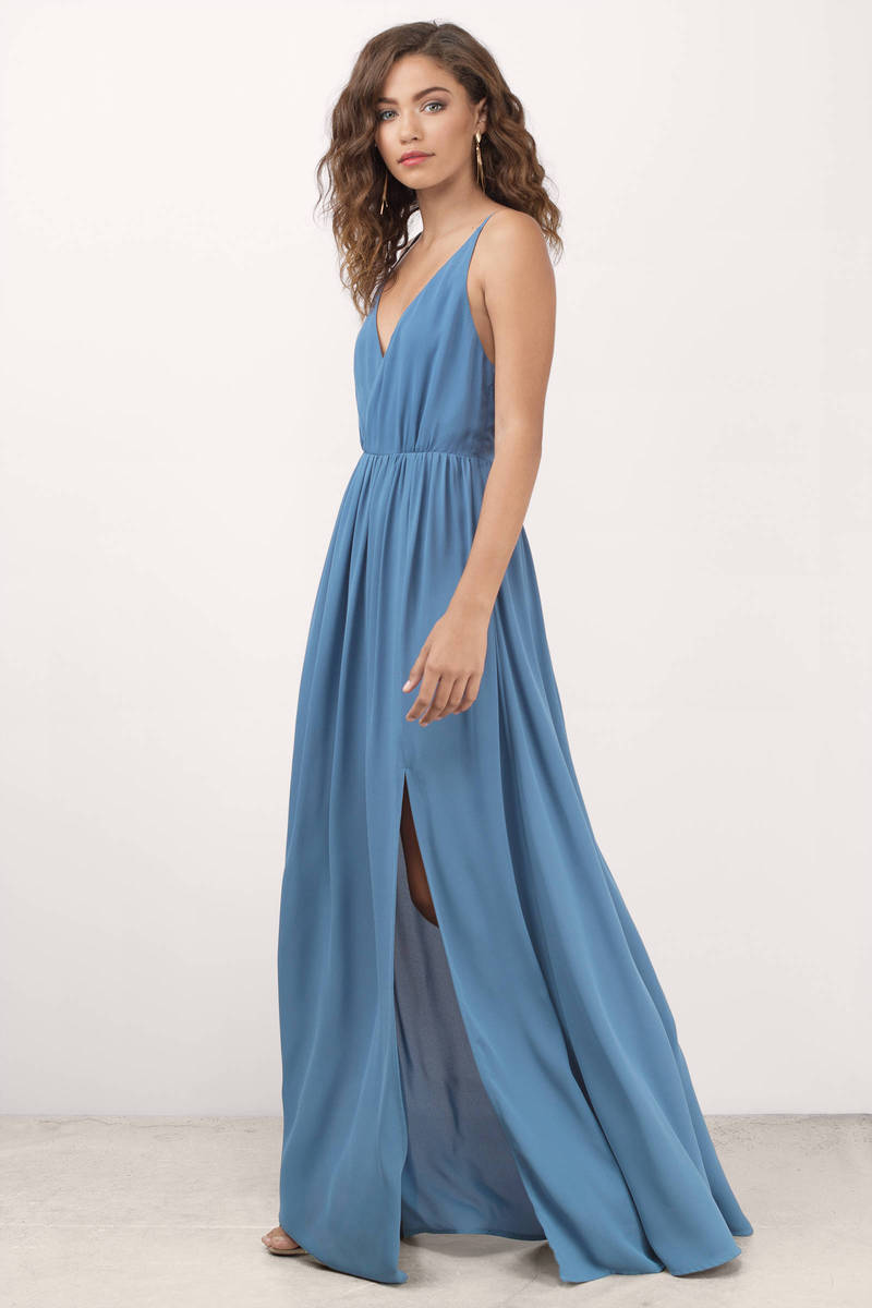 Cute Blue Dress - Plunging Dress - Blue Elegant Dress - Maxi Dress ...