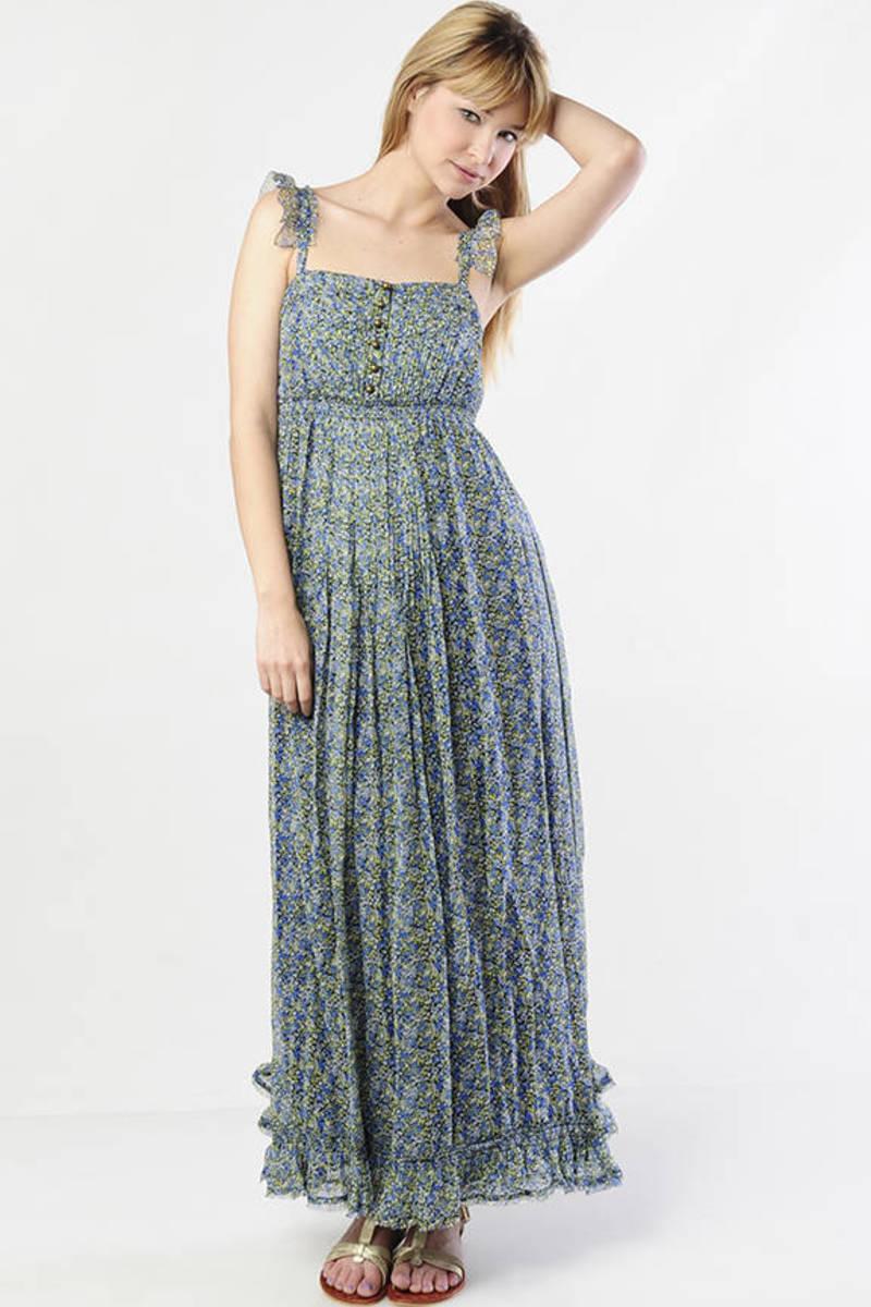 30b85ded273 Blue Floral Maxi Dress - Juicy Couture Ruffle Trim Dress - Blue ...