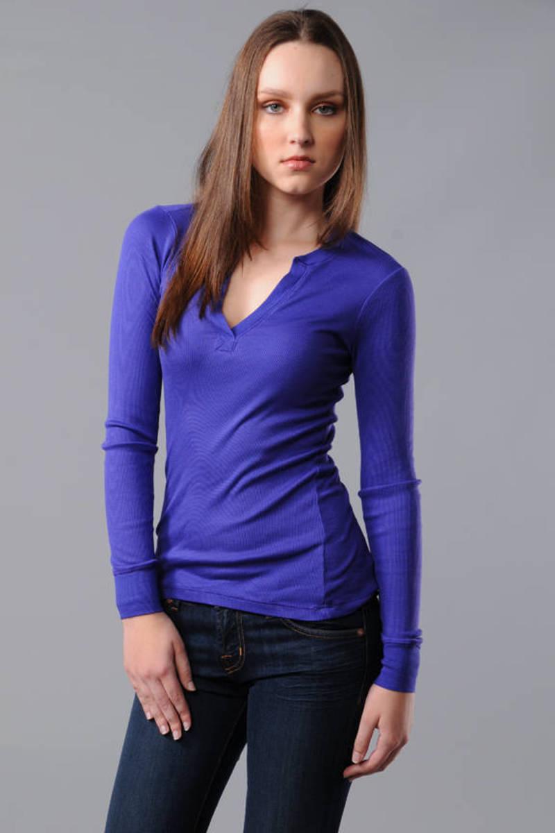 e7467c79 Cute Blue Splendid Tee - Casual Tee - Blue V Neck Top - $55 | Tobi US