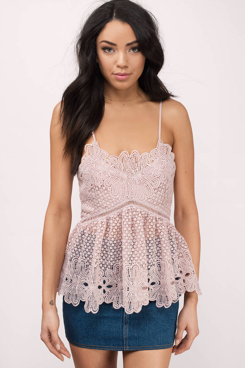 Acquainted Blush Lace Peplum Top