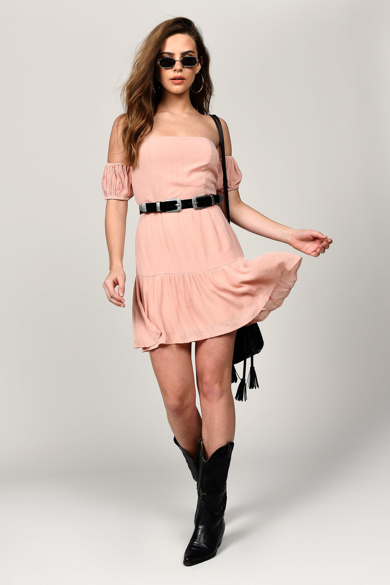 635c24c32ec Blush Pink Skater Dress - Blush Pink Bardot Skater Dress -  31