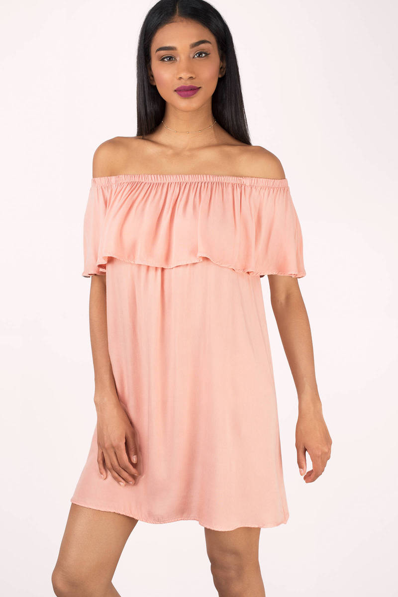 ce57f129d97 Cute Blush Dress - Coral Off The Shoulder Dress - Blush Shift Dress ...