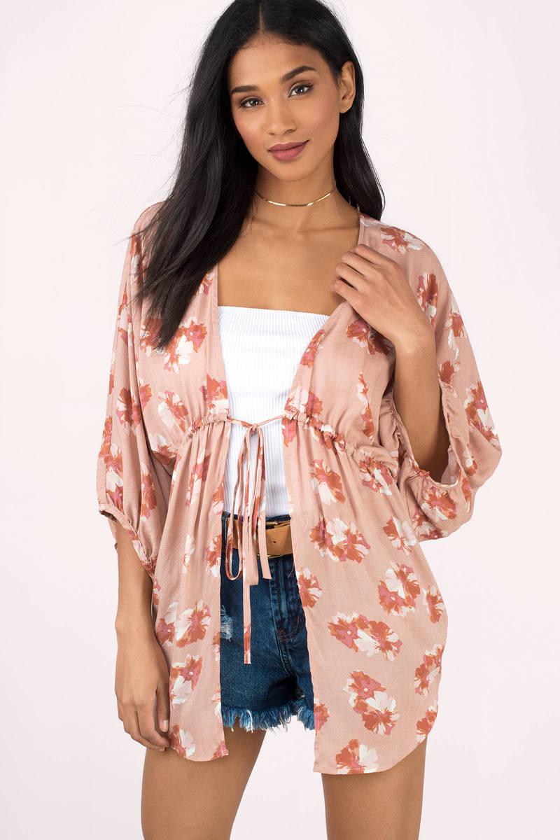 Beth Blush Floral Print Kimono
