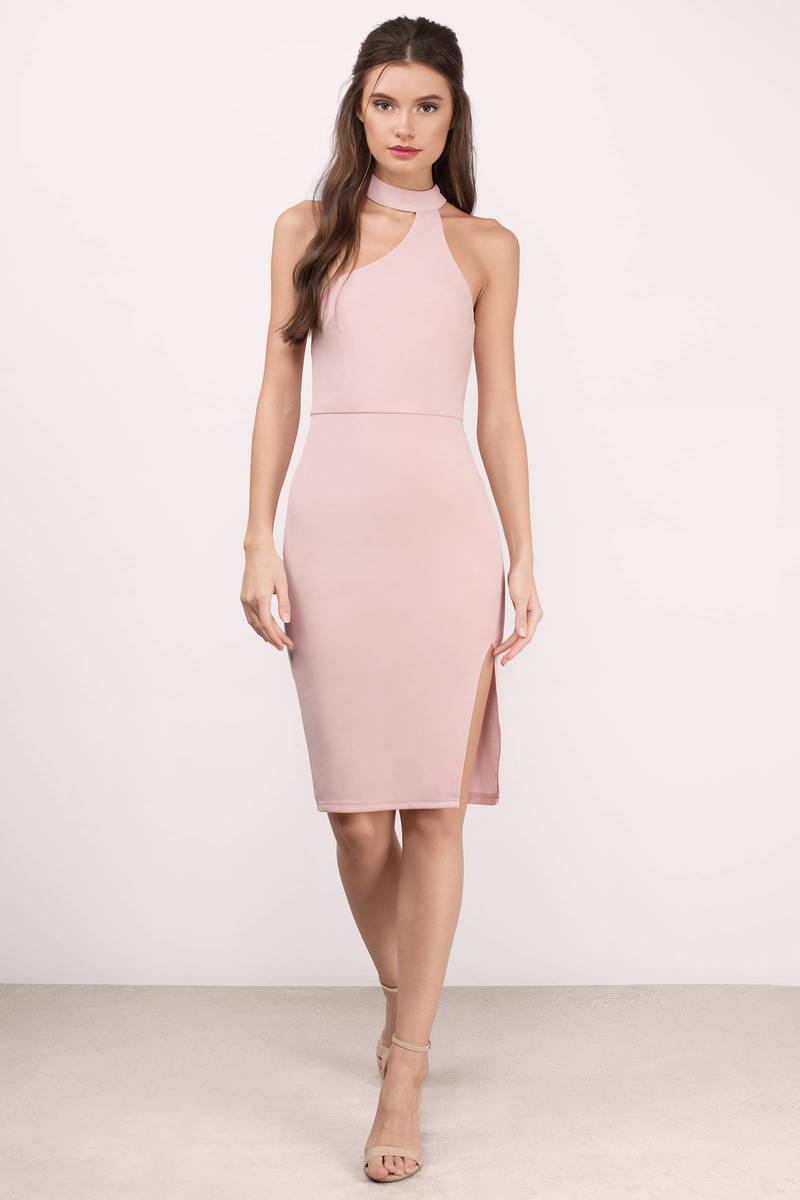 Cheap Blush Pink Midi Dress