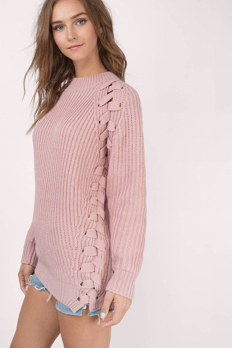 Blush Sweater - Pink Sweater - Lace Up Sweater - Blush Top - $29 ...