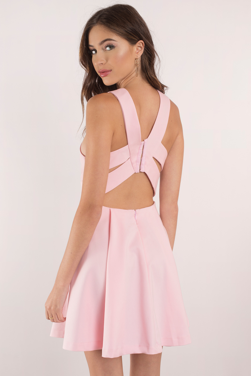 Sexy Blush Dress - Plunging Dress - Beautiful Pink Dress - Day ...