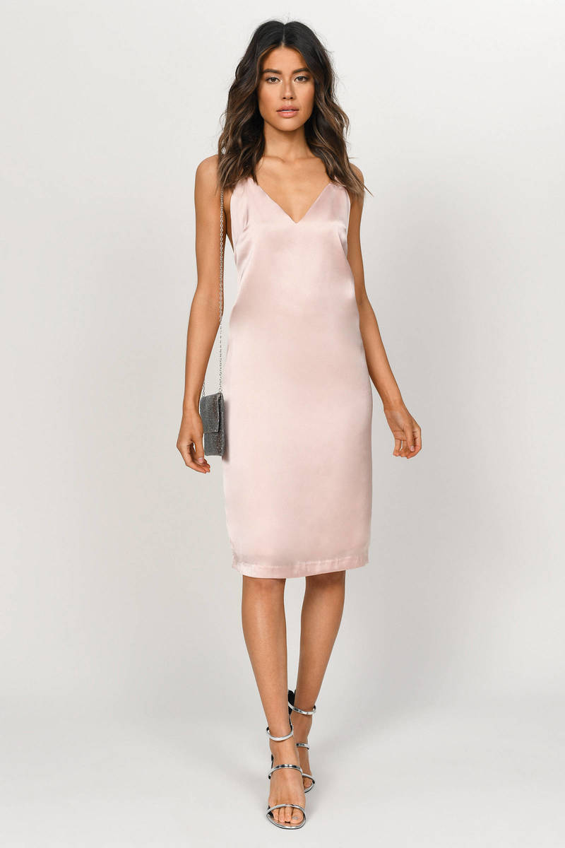 40fda848f3 Drape Down Blush Satin Midi Dress - $80 | Tobi US