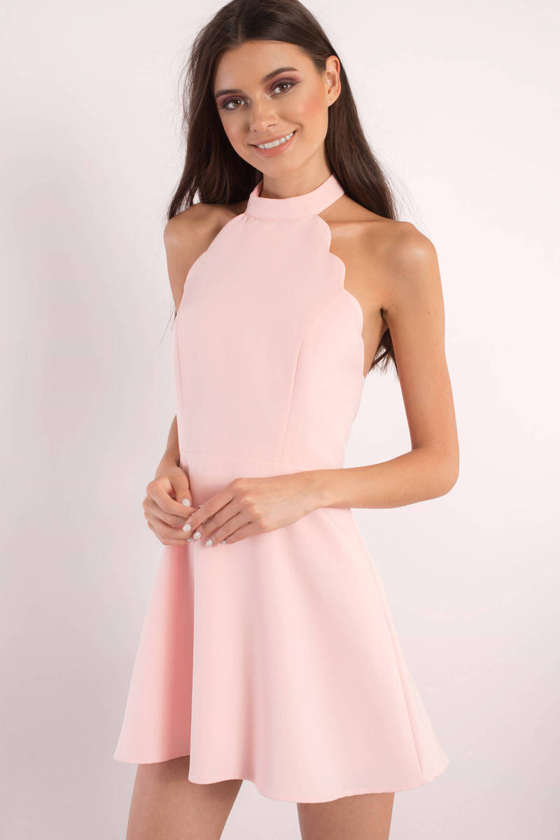 3a465ba3d50 Sexy Blush Dress - Backless Dress - Pink Flare Dress - Skater Dress ...