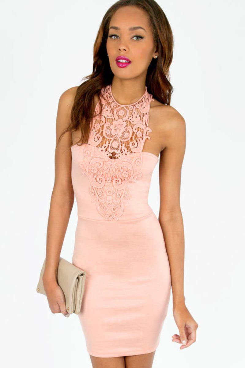 Halted Lace Bodycon Dress
