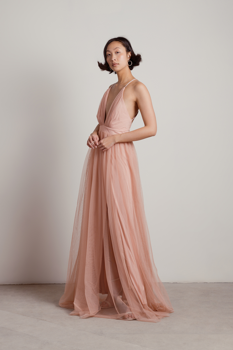 eeb9db821a Here To Slay Blush Plunging Maxi Dress -  51