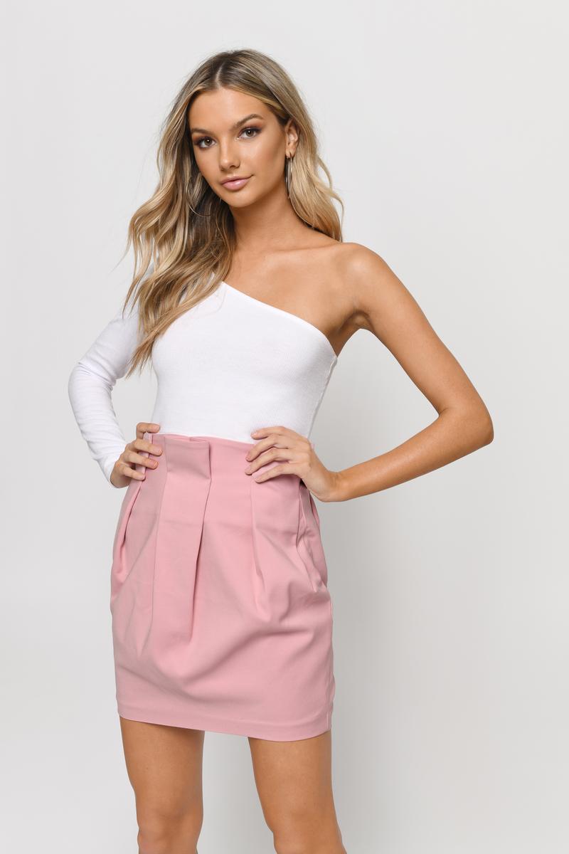 59ae497a26 Blush Skirt - Pleated Skirt - High Waisted Skirt - Blush Mini Skirt ...