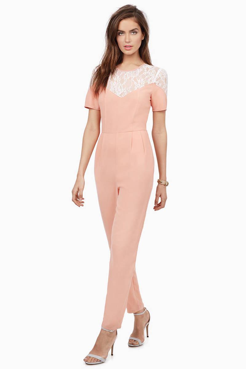 0cdba7e135c Pink Jumpsuit - Lace Jumpsuit - Short Sleeve Jumpsuit - Jumpsuit - S ...