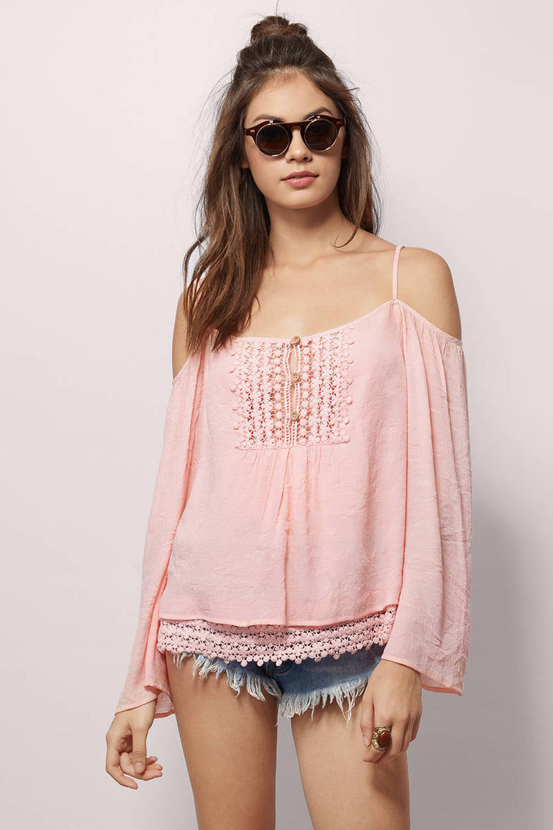 36b83cb00fc Cute Blush Blouse - Off Shoulder Blouse - Blush Blouse - $9 | Tobi US