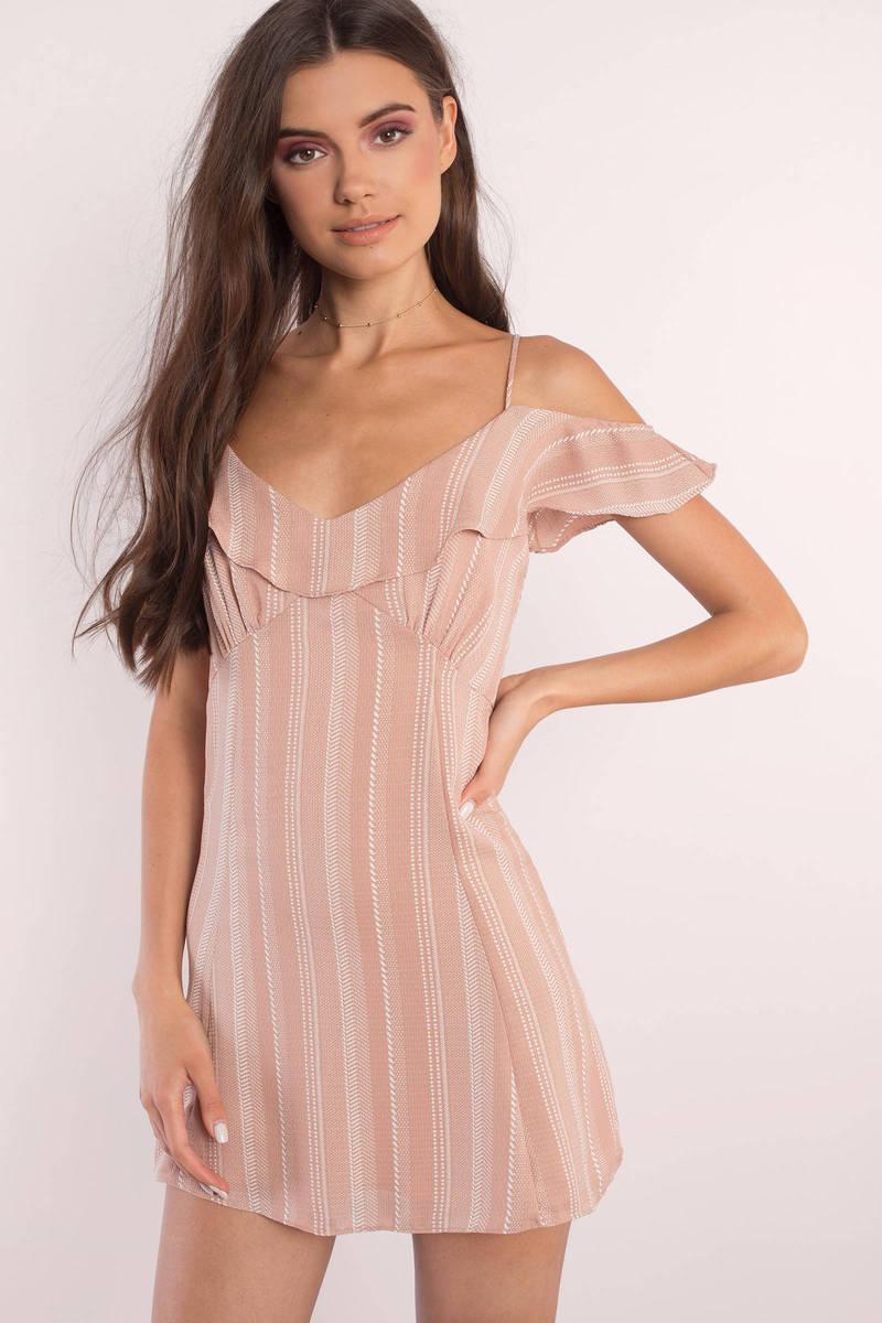 Cute Blush Dress - Ruffled Dress - Pink Striped Dress - Shift ...