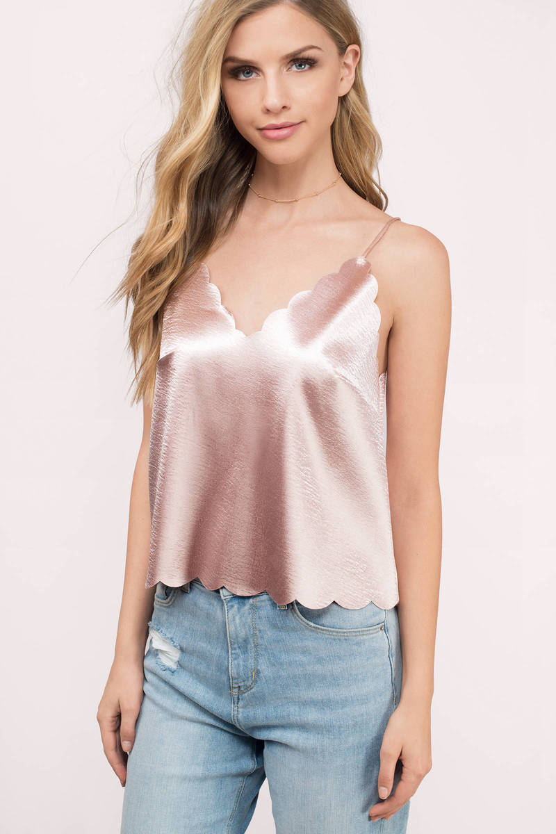 Levy Blush Satin Tank Top