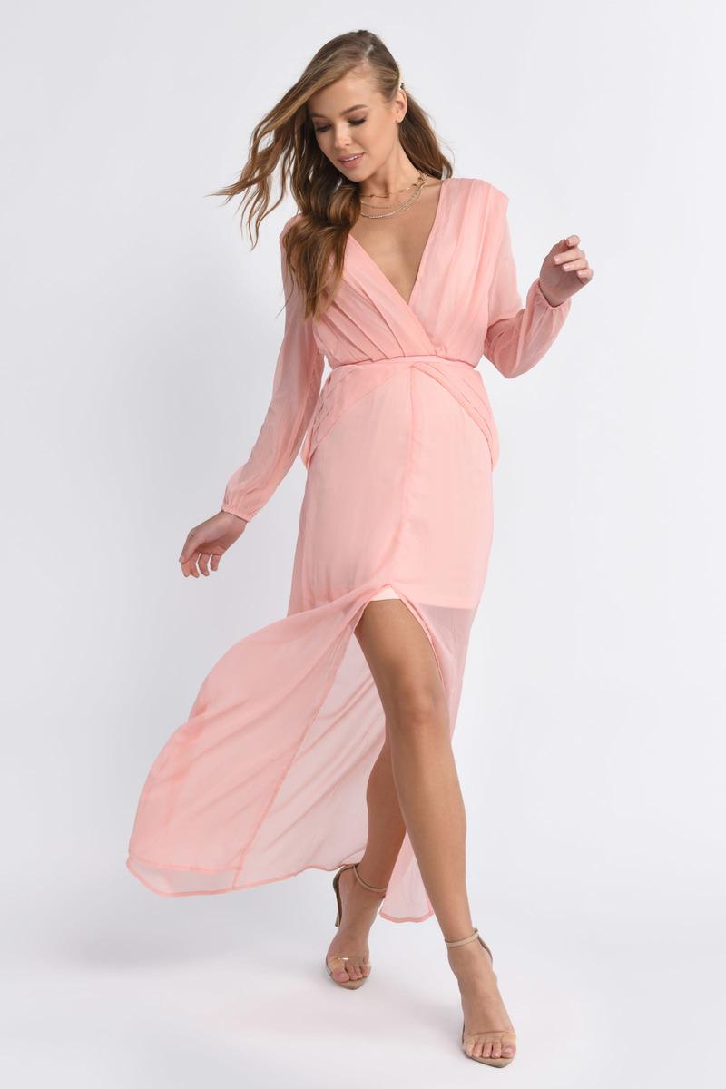 1b966b42d279b Sexy Blush Dress - Pleated Dress - Pewter Long Dress - Maxi Dress ...