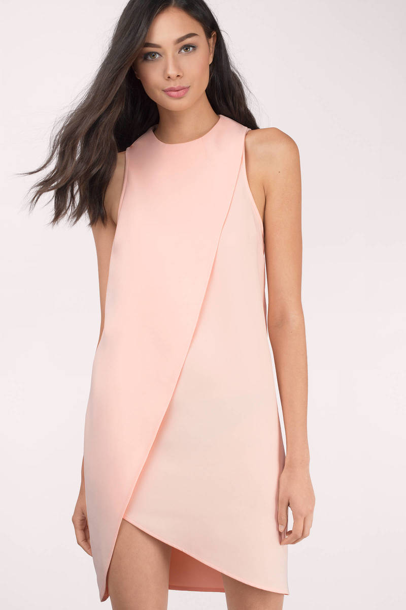 Cute Blush Shift Dress - Mock Neck Dress - Shift Dress -  14  e807574ca