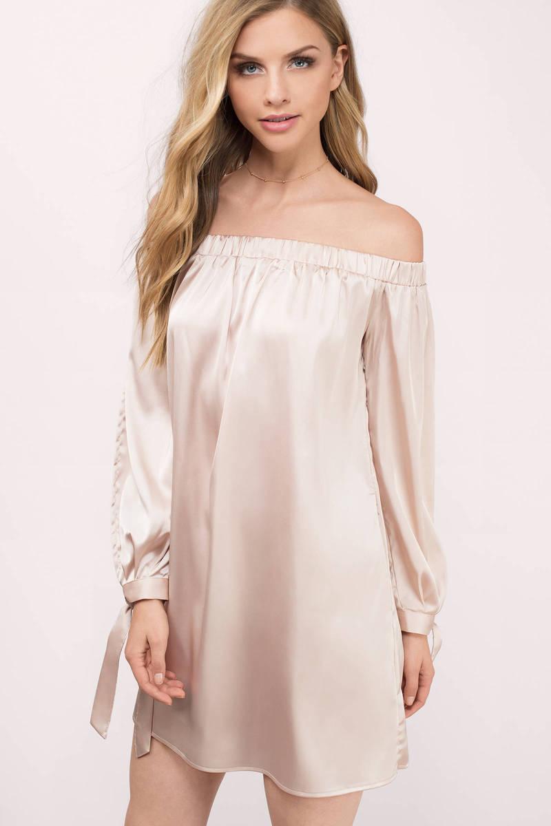 eaeeff53cae7 Blush Pink Shift Dress - Satin Drape Dress - Pink Long Sleeve Dress ...
