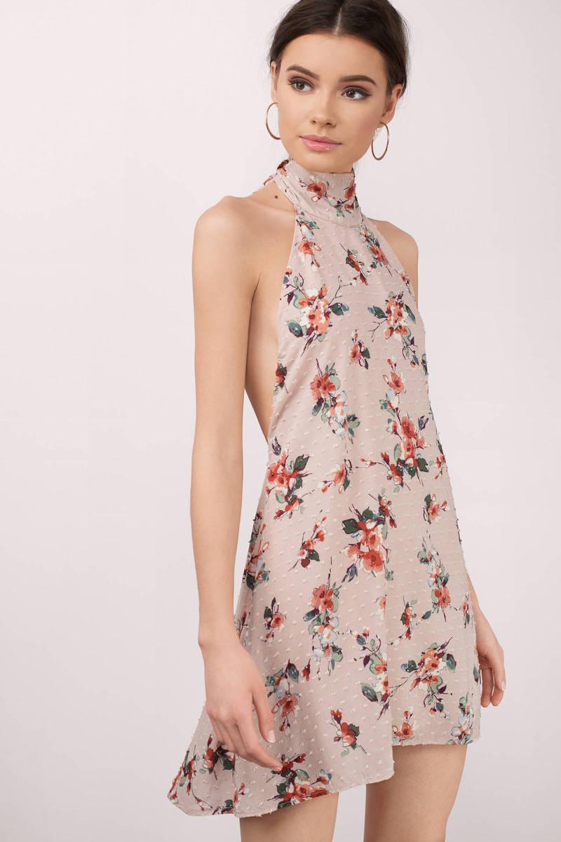 Leslie Blush Multi Floral Print Shift Dress
