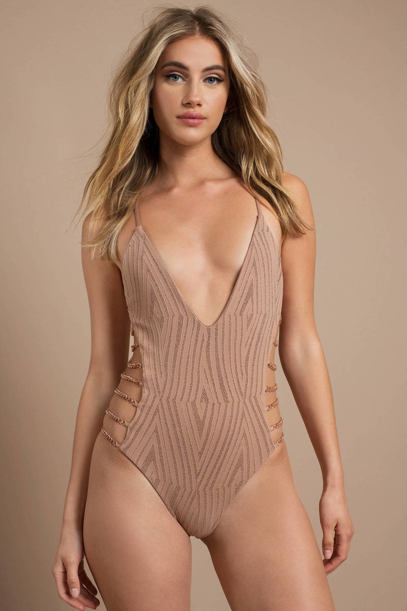 c5a8b81954e Blue Life One Piece - Nude High Leg Swimwear - Chain Swimsuit - $165 ...