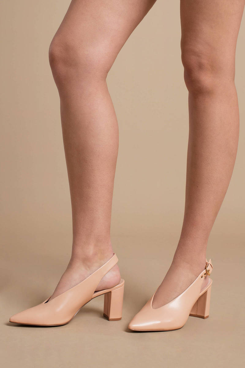 ac5c19d0ea Nude Chinese Laundry Heels - Pointed Toe Heels - Nude Faux Leather ...